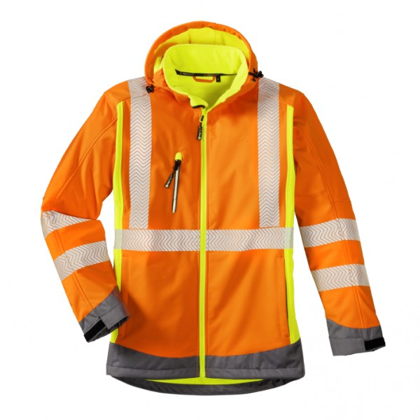 4PROTECT® Warnschutz-Softshell-Jacke HOUSTON, leuchtorange/-gelb/grau 3470