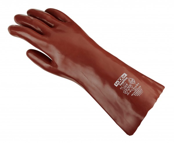 teXXor® Chemikalienschutzhandschuhe PVC ROTBRAUN 2111